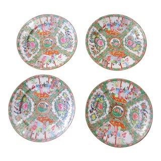 19th Century Chinese Export Rose Medallion Dinner Plates - Set of 4 For Sale