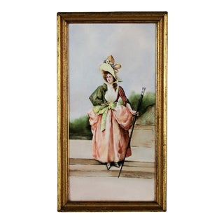 Early 20th Century Antique Hand-Painted Woman With Walking Stick Porcelain Plaque For Sale