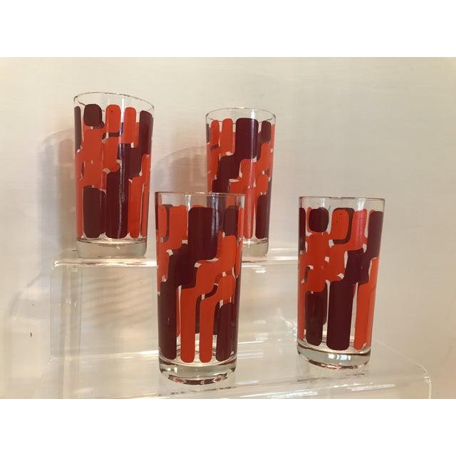 1960s Mid-Century Modern Orange and Pink Mod Highball Glasses - Set of 4 - Image 4 of 4