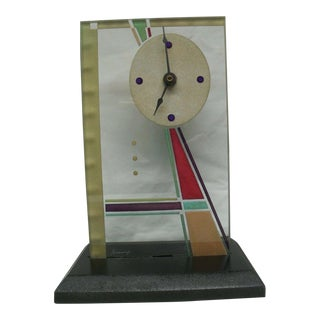Vintage Beaux Artes Glass Clock in Stain Glass Design For Sale