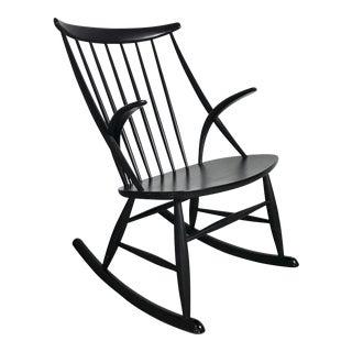 Illum Wikkelso Black Rocking Chair, Denmark 1950's