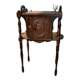 Antique Walnut Smoke Stand Humidor Tobacciana Table For Sale