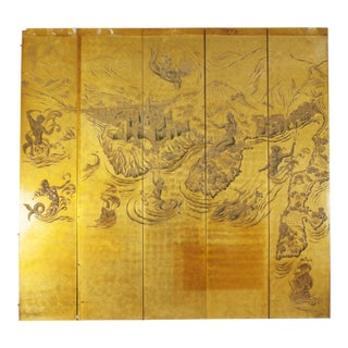 French Art Deco 5 Panel Gold Lacquered Relief Screen For Sale