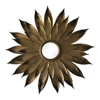 Vintage Sunburst Brass Wall Decor Mirror For Sale