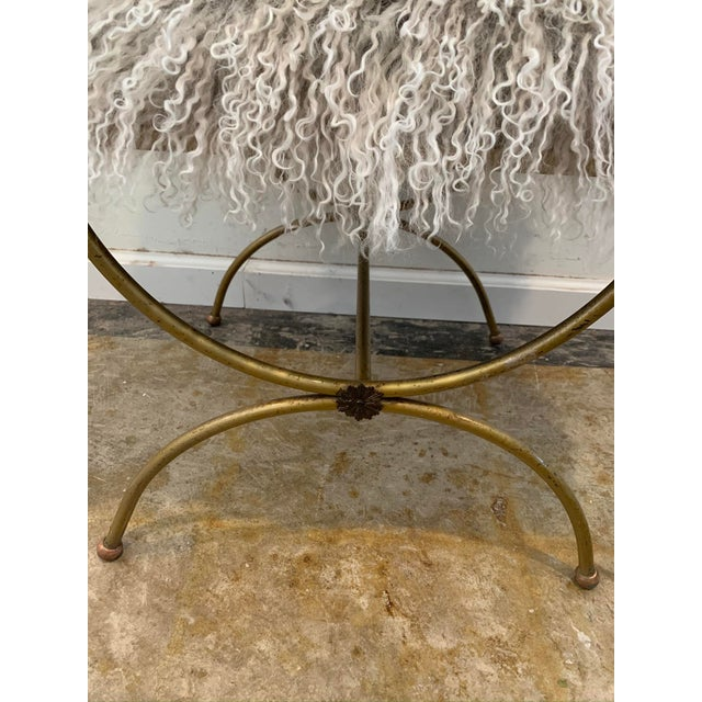Boho Chic Mongolian Mohair Vintage Vanity Stool For Sale - Image 3 of 7