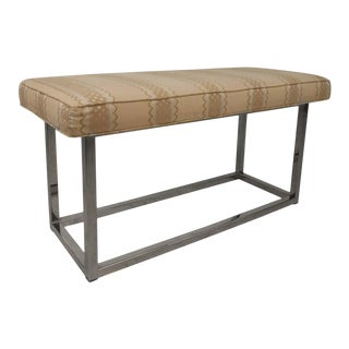 Mid-Century Modern Upholstered Bench With Solid Chrome Frame For Sale
