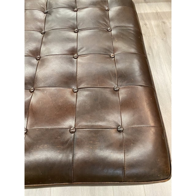2000 - 2009 Contemporary Lee Industries Large Brown Leather Square Ottoman Coffee Table For Sale - Image 5 of 9