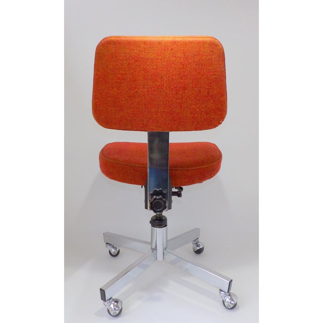 Chrome Mid Century Modern Interroyal Orange Wool Office Chair For Sale - Image 7 of 13