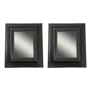 Pair of Dutch Ebonized Cushion Frame Mirrors For Sale
