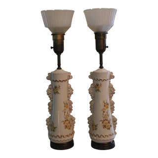 White Floral Rembrandt Art Deco Table Lamp - a Pair For Sale