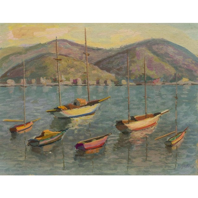 1970s Sailing Impressionist Style and Abstract Framed Paintings - Set of 7 For Sale - Image 4 of 12