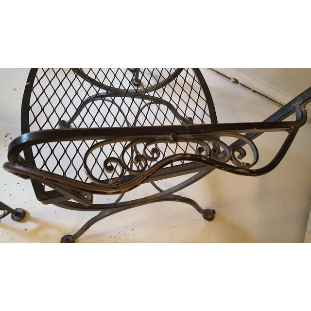 Glass Lee L. Woodard & Sons Mid-Century Wrought Iron Dining Set- 5 Pieces For Sale - Image 7 of 10