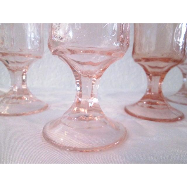 Vintage Blush Pink Madrid Goblets - Set of 5 - Image 3 of 6