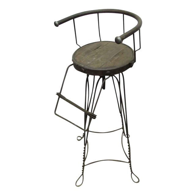 Unique Traditonal Industrial Cast Iron High Stool For Sale