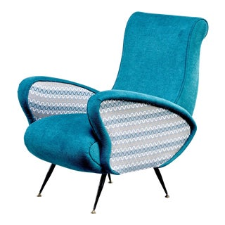 Italian Mid Century Lounge Chair With Two-Tone Upholstery For Sale