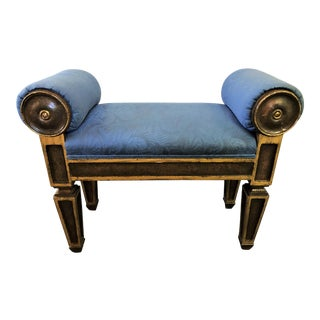 Vintage Directoire Style Bench With Rolled Upholstered Arms For Sale