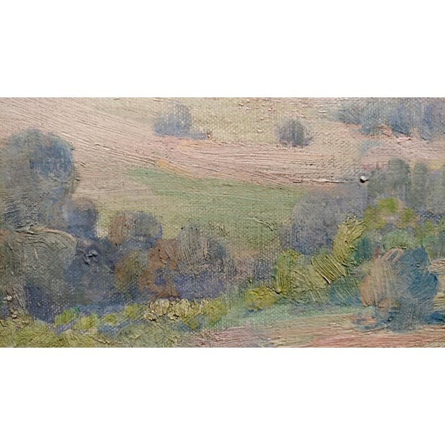 Blue Charles Fries -The Land of the Oaks-California Plein Air Oil Painting c1918 For Sale - Image 8 of 12
