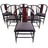 Image of Henredon Vintage Modern Black Lacquer & Cane Dining Chairs - Set of 6 For Sale