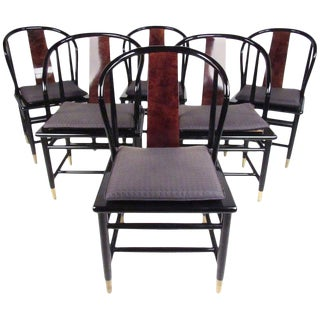 Henredon Vintage Modern Black Lacquer & Cane Dining Chairs - Set of 6 For Sale