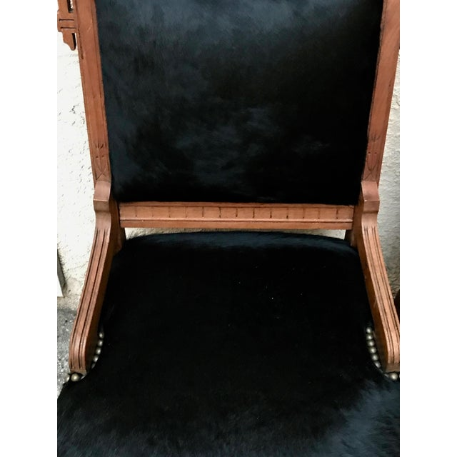 Late 19th Century Antique Throne Chairs Reupholstered With Black Hair on Hide - a Pair For Sale - Image 5 of 11