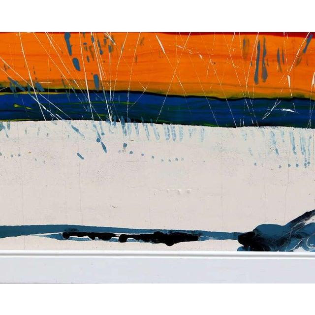 Red Large Vintage Expressionist Landscape Painting Signed Enamel on Board For Sale - Image 8 of 11