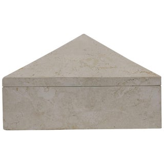 Postmodern Travertine Marble Pyramid Jewelry Box by Designer Maitland Smith For Sale