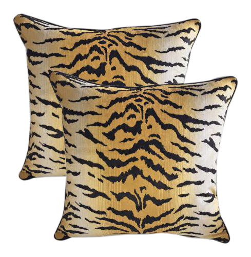 High End Sutherland Velvet Tiger Down Feather Accent Pillows Set