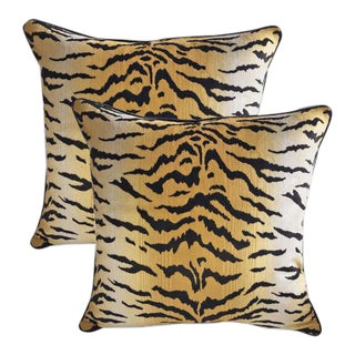 High End Sutherland Velvet Tiger Down Feather Accent Pillows - Set of 2 For Sale