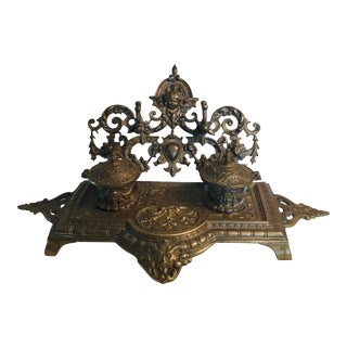 Antique Brass Double Inkwell For Sale