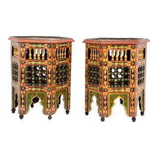 Moroccan Carved and Painted Side Tables - A Pair For Sale