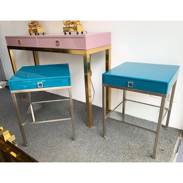 1970s Pair of Lacquered Side Tables by Guy Lefevre for Maison Jansen. France, 1970s For Sale - Image 5 of 13