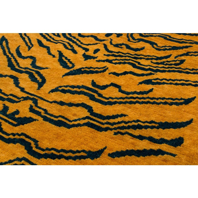 Indigo Blue and Gold Wool Tiger Rug-3′ × 6′ For Sale - Image 4 of 8