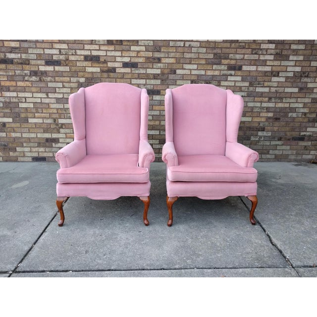 Vintage Queen Anne Pink Velvet Wingback Chairs by Sam Moore Furniture - A Pair - Image 11 of 11
