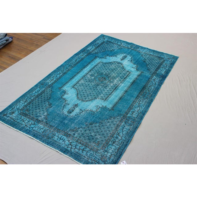 Turkish Over-Dyed Turquoise Rug - 5′5″ × 9′3″ - Image 3 of 11