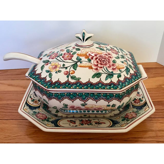 Islamic Hand Painted Ceramic Lidded Tureen With Under Plate & Ladle For Sale - Image 3 of 12