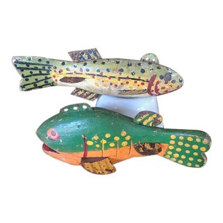 Early 20th Century Hand Crafted Fold Art Fish Decoys- Set of 2 For Sale