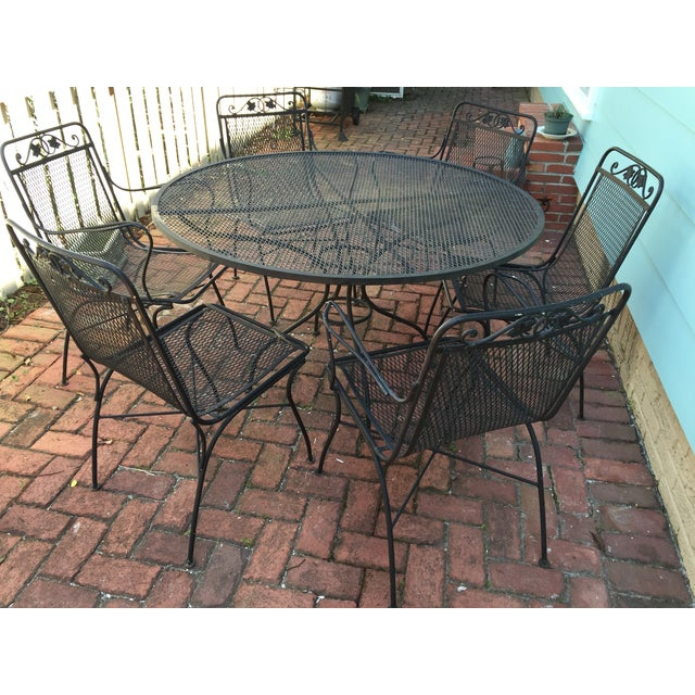 Vintage Iron Patio Dining Table & Chairs - S/7 - Image 6 of 6