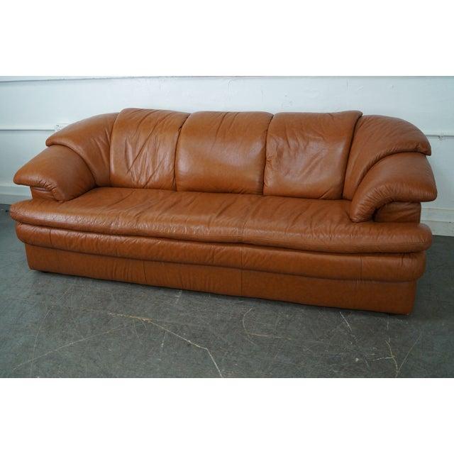 Natuzzi Vintage Caramel Color Leather Sofa - Image 10 of 10