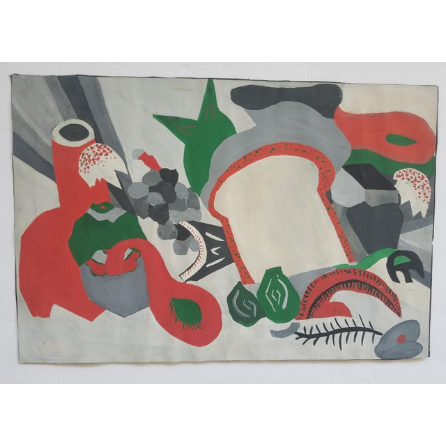 Mid-Century Modern 1940s Vintage Tablescape Gouache Painting For Sale - Image 3 of 3