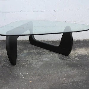 1970s Mid Century Black Painted Base with Glass Top Guitar Pick Shape Coffee Table For Sale - Image 5 of 11