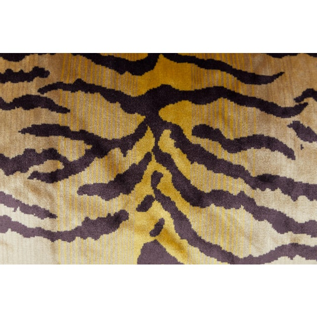 Primitive Velvet and Silk Tiger Lumbar Pillow For Sale - Image 3 of 6