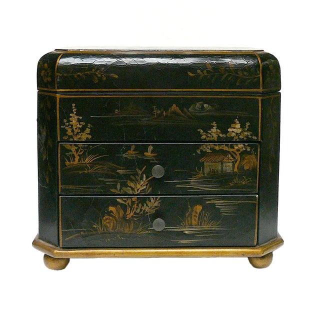 Handmade Chinese Black & Golden Jewelry Box - Image 1 of 7