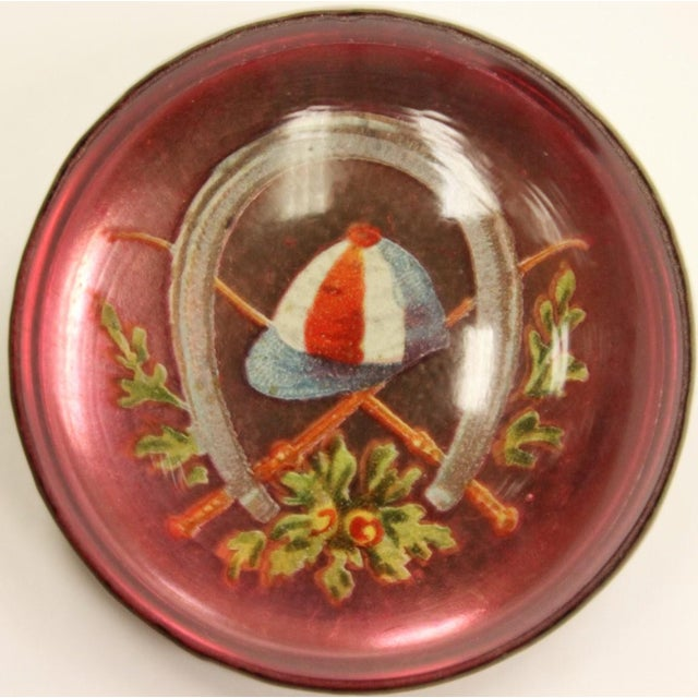 "Red & Blue ""Jockey Cap"" Brass Harness Buttons - A Pair - Image 3 of 5"