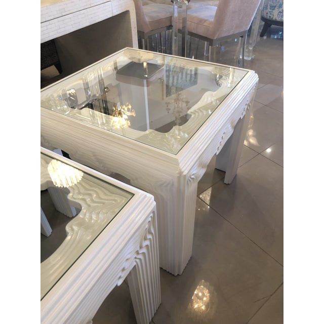 White Vintage Modern White Lacquered Wavy End Side Tables -A Pair For Sale - Image 8 of 13