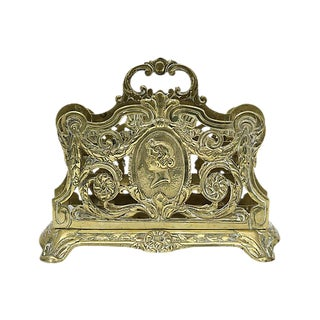 Antique French Brass Letter Holder For Sale