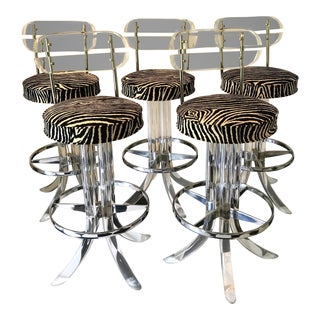 1970s Modern Glam Lucite & Chrome Bar Stools - Set of 5