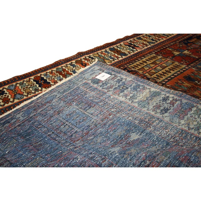 "Early 20th Century Antique Bakhtiari Pink and Blue Wool Rug - 5'1"" X 10'4"" For Sale - Image 5 of 7"