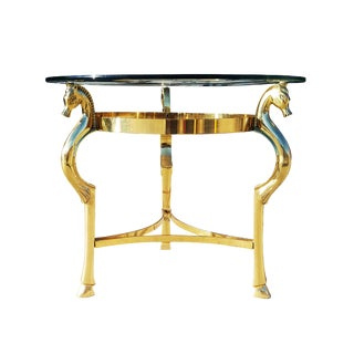 Hollywood Regency Brass Horse Side Table in the Manner of Maison Jansen For Sale