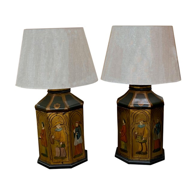 Metal Antique Tole Lamps - a Pair For Sale - Image 7 of 8