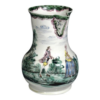 Antique English Saltglaze Cider Jug with Figural Polychrome Decoration, Mid-18th Century. For Sale